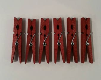 Clothespins, 6 Dyed Clothespins, 6 Red Clothespins, 6 Dyed Red Clothespins, Clothes Pins, Dyed Clothes Pins, Red Clothespins