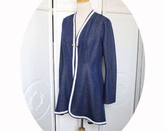 Tail-coat with blue denim and cream cotton jersey, long jacket knitted flowing cotton, Navy blue jacket, long jacket