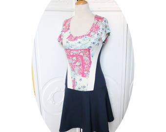 Strapless jersey Navy Blue and ivory, pink, short sleeve skater dress Blue Navy white and pink, Navy blue white cotton dress