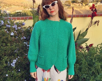 Vintage 1970s Fuzzy & Slouchy Green Knit Sweater