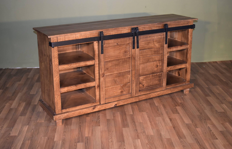 rustic style solid wood barn door sliding door tv stand. Black Bedroom Furniture Sets. Home Design Ideas