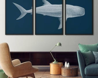 Shark art poster set of 3, Whale shark poster, Shark art print, Shark print, Nautical decor, Print set, Coastal decor, Shark poster