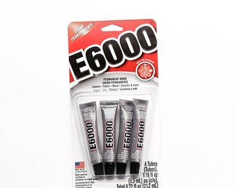 E6000 Adhesive Mini Tube - Craft Glue, Jewelry Glue, Cabochon Glue, Craft Adhesive, Jewelry Making, DIY Glue, Strong Adhesive, 4 pack