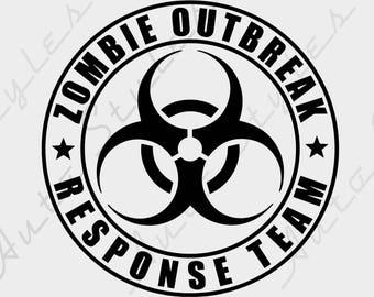 Zombie Outbreak Response Team Walking Dead Car Decal Window Creepy Truck