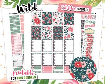 June Planner Stickers, Erin Condren Weekly Planner Stickers, Floral Stickers, July Weekly Kit, Flower Stickers, Spring Stickers