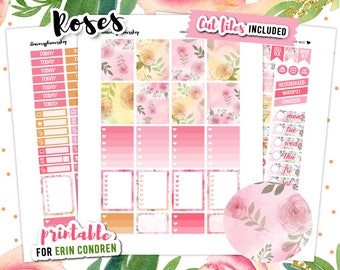 Weekly Planner Stickers, Rose Stickers, Roses Planner, Floral Planner Kit, Flower Planner Stickers,  Erin Condren Stickers