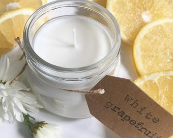 8 oz. White Grapefruit Hand Poured Pure Soy Candle with Cotton Wick