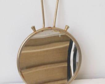 Vintage brass small round mirror