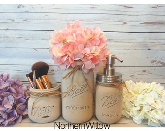 Rustic Bathroom Decor, Mason Jar Bathroom Set, Mason Jar Decor, Bathroom Set, Rustic Decor, Bathroom Storage