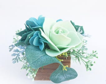 Felt Flower and Succulent Centerpiece . Spring Greens Tablescaping . Greenery Centerpiece