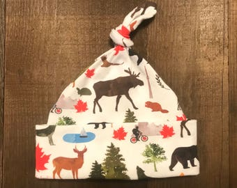 Baby Hat - Single Knot - Canada Wildlife Print - Cotton Spandex Jersey - Sizes 0-3 months (Newborn), 3-6 months