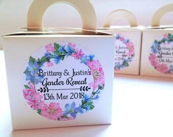 Gender Reveal labels, Gender Reveal favour stickers, Floral gender reveal baby shower, personalised gender reveal stickers, baby shower  212