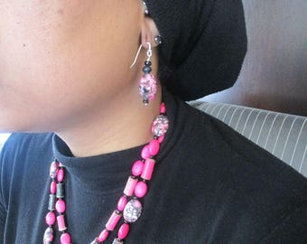 Pink and Black Spotted Howlite Earrings