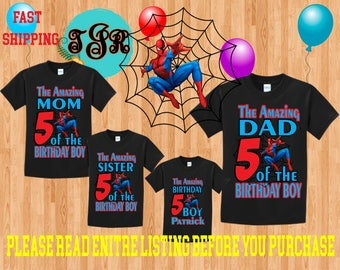 THE AMAZING Spiderman Boy birthday Family BLACK Theme Shirts Vacation Long Sleeve Short Sleeve Tank tops Toddler Tshirt