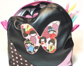 Backpack child black leatherette diligently shaped butterfly and double cotton geisha print