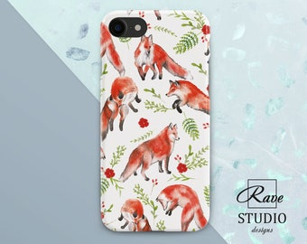 Fox iPhone case Red fox print iPhone 6 case fox iPhone 7 plus case Fox painting iPhone flower case Fox iPhone 5 case Cute fox gift iPhone