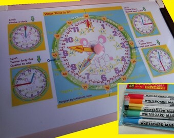 LEARN TIME CLOCK with Whiteboard and 5 Color Markers