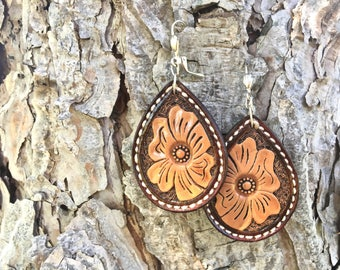 Tooled flower earrings