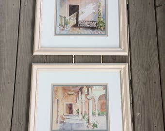 Two (2) Beautiful Richard Akerman Signed Watercolor Prints Matted and Framed
