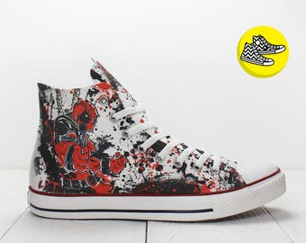 Deadpool with gun custom painted converse sneakers Marvel movie shoes