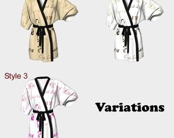 C'est la Vie, Kimono Robe, Dressing Gown, Bridesmaid Robe, Coverup, Spa Robe, Swimsuit Coverup, Robe, Knit,Chiffon, french, french quote