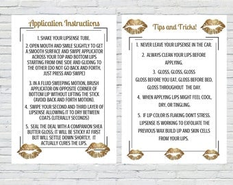 LipSense Gold Lips - Tips and Tricks & Application Instructions   5 x 7   Download   Printable