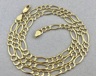 Stunning Solid 14k Yellow Gold Figaro Link Chain Necklace! 22 Inches! 5.3 MM!