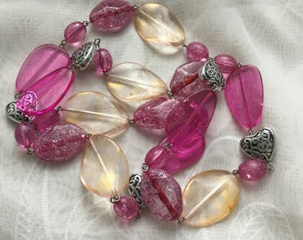Chunky Metal Hearts, Light Yellow & Pink Lucite Bead, Wired Necklace