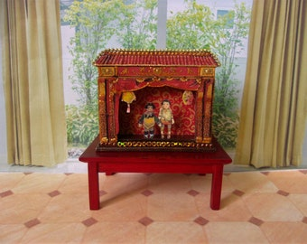Paper theater. Puppet theater.(1,97 inches). Miniature theater doll. Doll of a miniature. Handcrafted miniature. For doll House. 1:12 Scale.