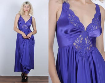 70s Maxi Slip Dress // Vintage Purple Sheer Lace Nightgown Lingerie - Small to Medium