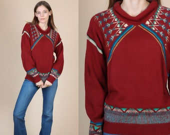 70s Southwest Knit Sweater - Large // Vintage Cowichan Striped Pullover Jumper