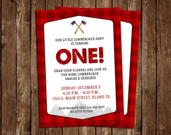 Lumberjack Birthday Party Invitation, Lumber Jack Invitation - DIY Printable JPEG Download