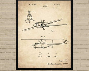 Helicopter Art, patent print, Military Gift, blueprint art, US Army, airborne, military decor, military art, military gifts, military print