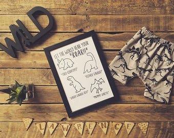Family dinosaur print