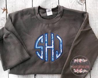 SALE !!!! Circle Monogram Sweatshirt   Monogram Sweatshirt   Monogram Crewneck Sweatshirt