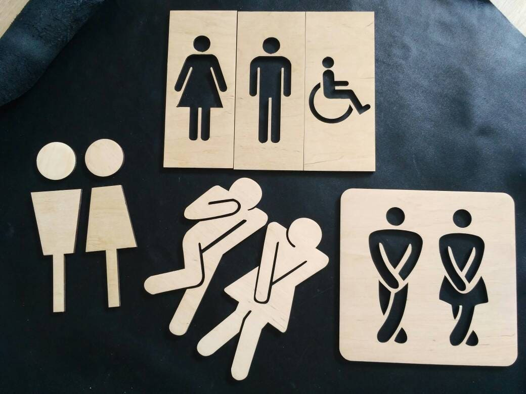 plywood wc sign for men and women signs for toilet signs for bathroom
