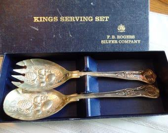 Kings serving set by F. B Rogers silver sompany 1960's era