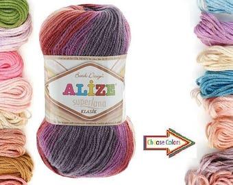 Alize Superlana Klasik Batik, knitting yarn, wool yarn, Acrylic yarn, Soft Yarn, Batik Yarn, multicolor yarn, crochet yarn, winter yarn