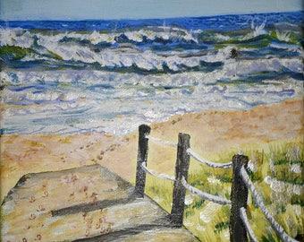 Digital D/load acrylic fine art Broadwalk 2 to Atlantic Beach Culatra