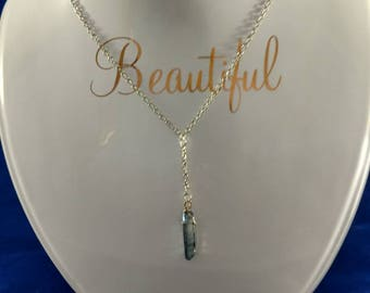 Silver Drop Pendant Necklace with Blue Crystal