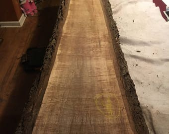 "walnut slab aprox 99"" x 14"" - 12"" x 1.25"""