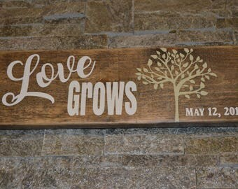 Love Grows Rustic Wood Painted Sign Barnboard Painted Sign Family Sign Aniversary Gift Wedding Gift Painted Rustic Sign