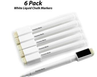 6 Pack - White Liquid Chalk Markers With Magnetic Cap And Eraser