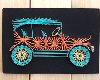 Vintage 70s Wall Hanging String Art w/ Nails Classic 30s Retro Car Depiction Plaque Car Collector Collectible