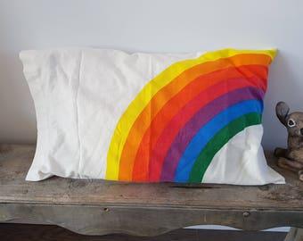 Vintage Pillowcase Rainbow Pattern 18.5'' x 29'' Standard Single Unit Cotton Pillow Case Bedroom 80's, Gay Pride LGBTQ Decor Hipster