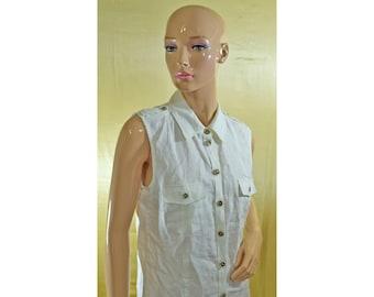 Vintage Your Sixth Sense women vest white linen