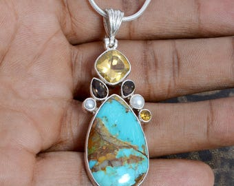 Boulder Turquoise, Citrine, Pearl, and Smoky Quartz Gemstone 925 sterling silver pendant jewelry with 2 mm silver snake chain