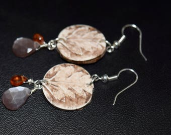 Chocolate Moonstone and Spessartite Garnet~ Adorned upon Oak Leaves ~ Wearable Art Earrings~Fall Jewelry