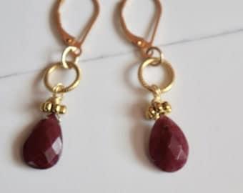 Ruby and Gold Earrings~ Ruby Earrings~ July Birthstone~