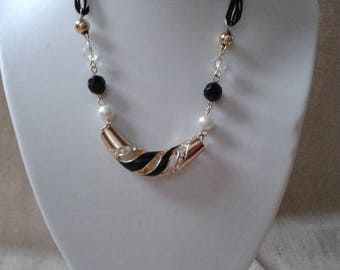 """necklace """"gold, black and white wedding"""""""